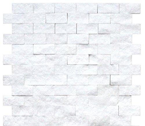 Thassos White Marble 1x2 Split-Faced Brick Mosaic Tile (1 Square Foot)