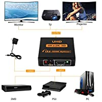 [Upgrade version] Amuoc 1X2 HDMI Splitter Version 1.4 Powered HDMI Splitter Dual Monitor HDMI Splitter for Full HD 1080P Support 4K/2K and 3D Resolution (One Input To Two Outputs) by Amuoc