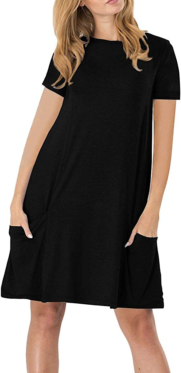 NETANT Damen Casual Langes Shirt Lose Tunika Kurzarm T-Shirt Kleid: Amazon.de: Bekleidung - Tunika Kleid