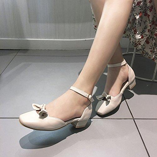 Cut Beige Out Damen Blockabsatz Geschlossen Knöchelriemchen Aisun Brautschuhe Sandale Schliefe nOFxRx1