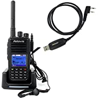 Retevis RT3 Two Way Radio DMR Digital/Analog GPS UHF 400-480MHz 1000CH 2000mAh VOX Walkie Talkies with Earpiece and Programming Cable