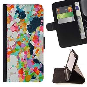 For Samsung Galaxy S6 Active G890A Case , Pintura al óleo abstracta Spots primavera colorido- la tarjeta de Crédito Slots PU Funda de cuero Monedero caso cubierta de piel