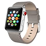 Apple Watch Band 38mm Leather, Swees iWatch Genuine Leather Bands Replacement Strap with Stainless Steel Clasp Buckle for Apple Watch Series 3 , Series 2, Series 1, Sports & Edition Women Men, Grey