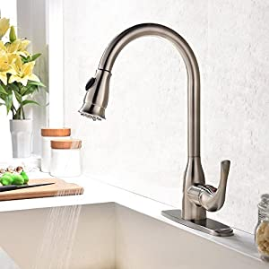 Hotis Commercial Single Handle Pull Down Sprayer Stainless Steel Kitchen Sink Faucet, Brushed Nickel Kitchen faucets