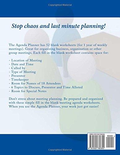 Agenda Planner: 52 Agenda Planner Worksheets: Frances P ...