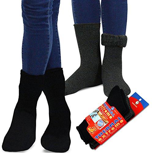 (TeeHee Super Warm Brushed Thermal Crew Socks 2 Pairs Pack (10-13, Black/Heather Black))