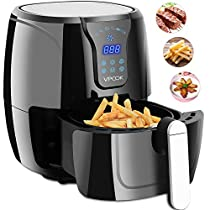 VPCOK Hot Air Fryer Oil Free, Air Fryers Cookbook Included, LED Touch Display, Black