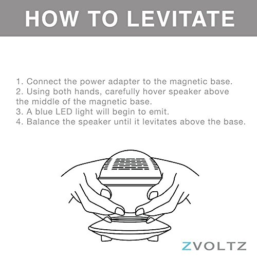 Levitating Bluetooth Speaker, ZVOLTZ Portable Floating Wireless Speaker with Bluetooth 4.0, 360 Degree Rotation, Built-in Microphone, One Touch Control for Bluetooth Connected Devices - Matte Black by ZVOLTZ (Image #4)