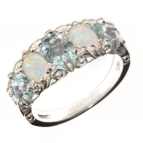 Natural Aquamarine and Opal Womens Promise Ring - Size 6.5 ()