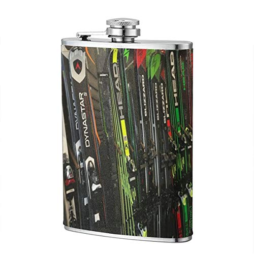 JHXZML Twin Tip Snow Skis Hip Flask 8 Oz 304 Stainless Steel Leather Wrap Drinking Pocket Flagon for Whiskey Alcohol Liquor