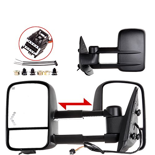 cciyu Pair Set Left+Right Power Heated LED Signal View Mirrors Replacement fit for 07-13 Chevy/GMC Silverado/Sierra (07 New Body Style Models) Manual Side Towing Mirrors