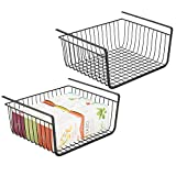 mDesign Household Under Shelf Hanging Wire Storage Organizer Bin Basket with Open Fronts for Kitchen Cabinets, Pantries, Shelves - Large, Pack of 2, Steel in Durable Black Finish