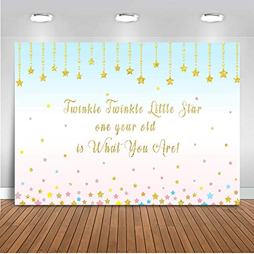 Mehofoto Happy 1st Birthday Backdrop Twinkle Twinkle Little Star Photography Background 7x5ft Vinyl Kids First Birthday Party Decoration Backdrops ()
