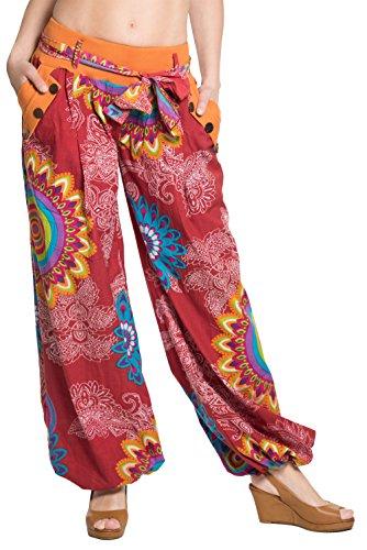 disegni cotone cintura di molti Arancio differenti sbuffo stoffa design 100 ufash con a italiano Calzoni gnYAx7