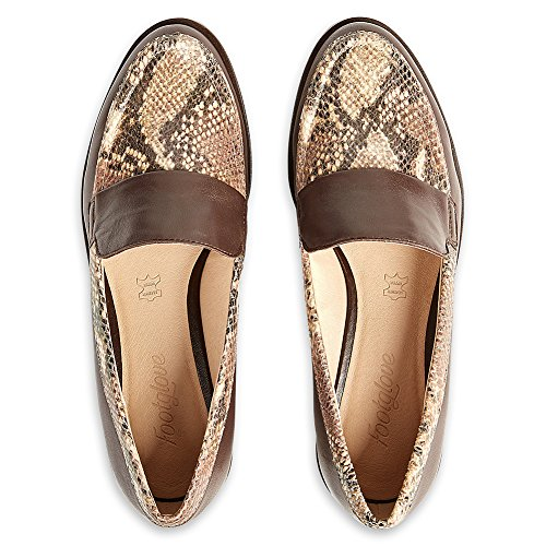 amp; Heel Footglove Slip Tan T028292C Block Loafers Snake on Marks White Spencer T028292 RRP Leather Brown Black Black RgpORxwdEq