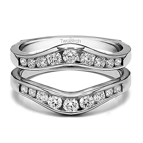 3/4 ct. Diamonds (G-H,I2-I3) Graduated Contour Style Ring Guard in Sterling Silver (0.7 ct. twt.) by TwoBirch