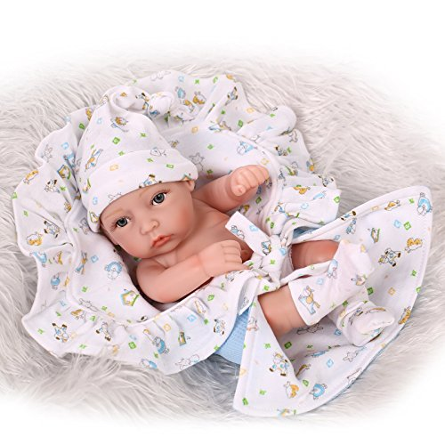 SanyDoll Lifelike Reborn New Baby Alive Washable Full Silicone Doll Toys Boy 11inch 25cm (Silicon Baby Dolls That Move)