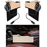 EDJIAN 2 Set Multi-Function PU Leather Vehicle Storage Box with Coin Organizer 2 USB Charging Ports, Console Side Organizer with Foldable Cup Holder (Beige)