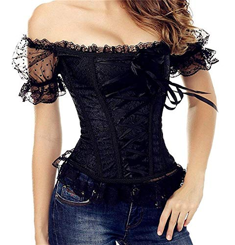 Overbust Plus Size Corsets and Bustiers for Women Lingerie Lace up Corset Floral Ruched Sleeves Elegant Top Sexy Black S -