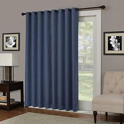 NA 1 Piece 84 Inch Indigo Solid Color Blackout Sliding Door Curtain, Blue  Sliding Patio