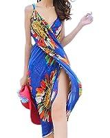 UZZO Chiffon Sexy Wrap Dress Sarong Beach Scarf Shawl Dress up Wrap (Dark blue)