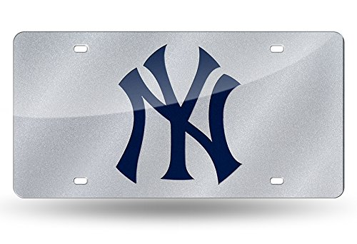 (Rico MLB New York Yankees Bling Laser Cut Auto Tag Plate, 12 x 6-Inch, Silver)
