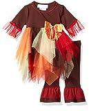 Bonnie Baby Baby Girls Appliqued Tutu Skirt Dress and Legging Set, Brown, 6-9