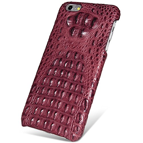 UU&T Handcrafted Crocodile Leather Protective Case for Iphone6 Plus / 6s Plus (5.5inch)[Elite] (Classic Red: Head Leather) by UU&T
