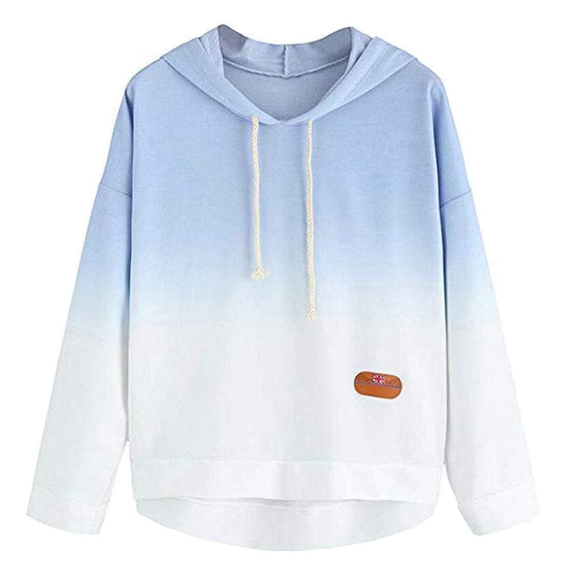 XiaoTianXinWomen XTX Womens Gradient Color Basic Drawstring Hoodie Pullover Sweatshirt