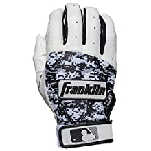 Franklin Sports Adult MLB Digitek Batting Gloves, Adult Medium, Pair, Grey/White/Black Digi