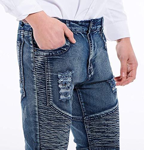 Da Jeans Denim Stile Casual Semplice Moda Hellblau Uomo Vintage Pantaloni Stretch Slim Strappati Fit Distrutti UqFqdwrS