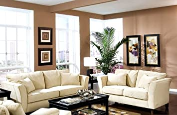 2pc Sofa U0026 Loveseat Set Cream Velvet Fabric