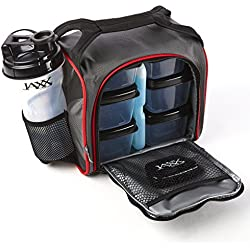 Fit & Fresh Original Jaxx FitPak Insulated Meal Prep Bag with Portion Control Containers, Ice Pack and 28-ounce JAXX Shaker Bottle, Black & Red