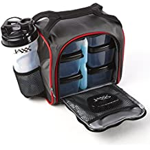 Fit & Fresh Jaxx FitPak Meal Prep Bag and Container Set with 6 Leakproof Portion Control Containers, Ice Pack and 28-ounce Jaxx Shaker Cup, Black/Red