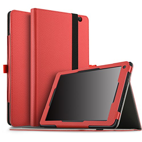 IVSO Dragon Touch V10 10 inch Tablet Case, Ultra Lightweight Leather Stand Cover Case for Dragon Touch V10 10 inch Tablet (Red)