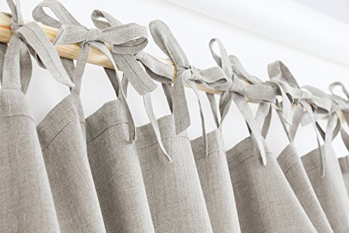 Homey natural linen tie top curtains / made of linen / scandinavian design / linen drapes