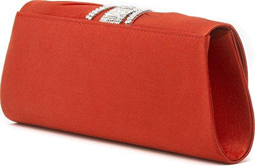 VINCENT PEREZ, Abendtaschen, Clutch, Umhängetaschen, Unterarmtaschen, Satin, Raffung, Strassstein-Applikation, 31,5x9,5x8,5cm (B x H x T) Rot (Koralle)