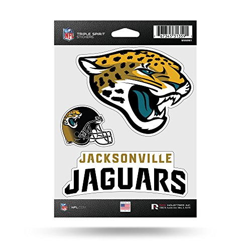 Rico Industries NFL Jacksonville Jaguars Die Cut 3-Piece Triple Spirit Sticker Sheet