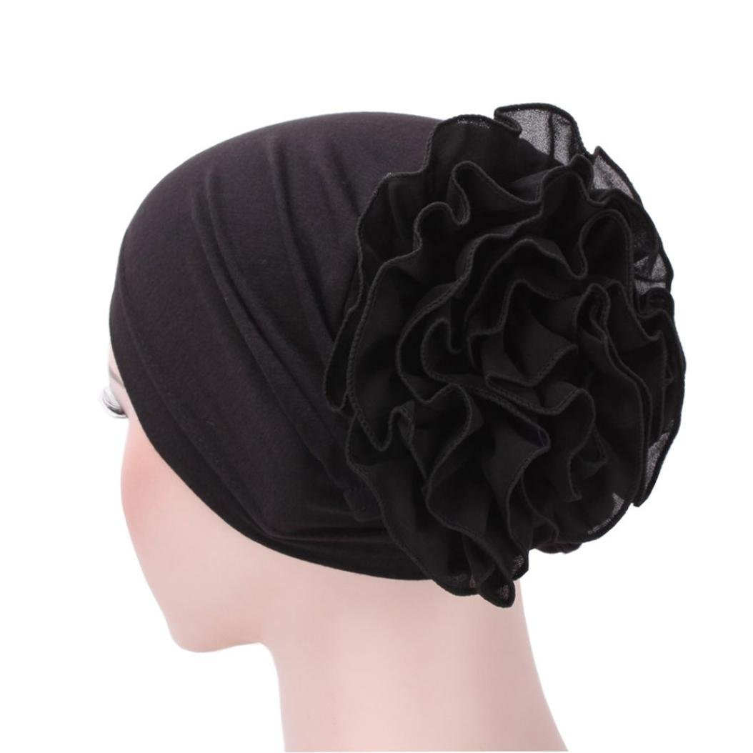 2018 Fashion Head Wrap,SHL Flower Muslim Ruffle Cancer Chemo Hat Beanie Scarf Turban Cap (Black)