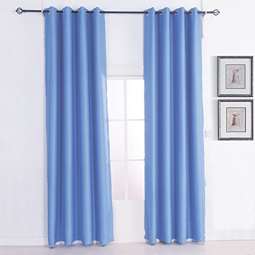 Megayouput Room Darkening Thermal Insulated Blackout Grommet Window Curtain Panel for Living Room, 52Wx 95L inch Blue, 2 Panel
