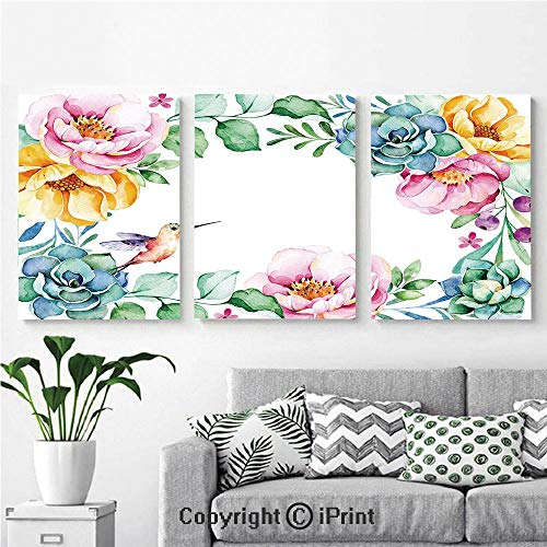 Modern Salon Theme Mural Nature Themed Framework with Floral Flourish Border and Cute Little Hummingbird Decorative Painting Canvas Wall Art for Home Decor 24x36inches 3pcs/Set, Multicolor ()