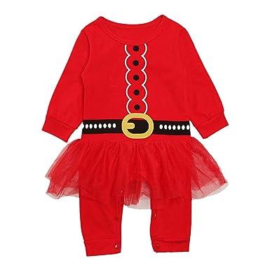07ba51ce366 Hibote Bebé Recién Nacido Ropa Ropa Carta Navidad Imprimir Romper Conjunto  Ropa Bebé Niña Vestido Navidad  Amazon.es  Ropa y accesorios