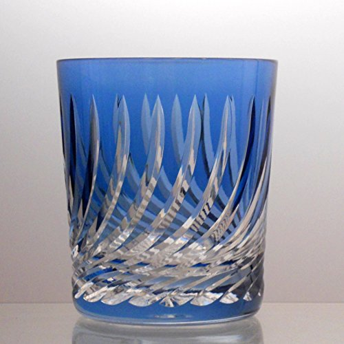 Bohemian Cut Glass - Julia Crystal Whiskey Glasses - Hand Made, Hand Carved, Best Tumblers for Drinking Scotch, Bourbon, Cognac, Irish Whisky and Your Favorite Liquor Drinks - Aqua Blue Whiskey Tumbler Flame Cut