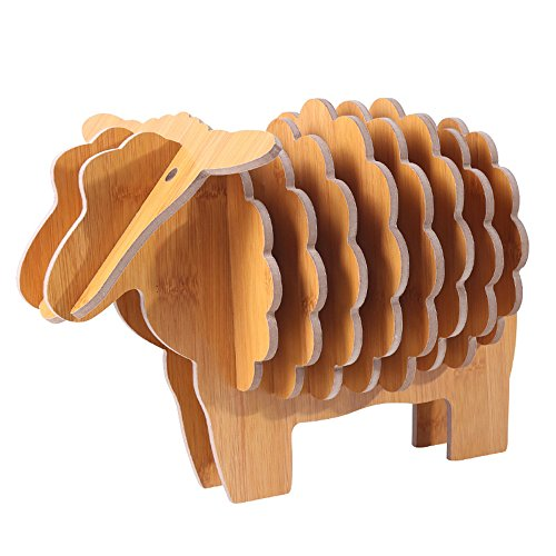 Wooden Sheep Decor Coasters Set Of 8 With Holder For Drinks Dining Table Coffee
