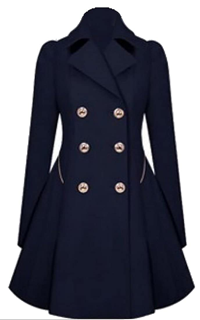 5162a41a119 Amazon.com  ouxiuli Women Business Classic Lapel Double-Breasted A-line Slim  Fit Trench Wool Pea Coat  Clothing