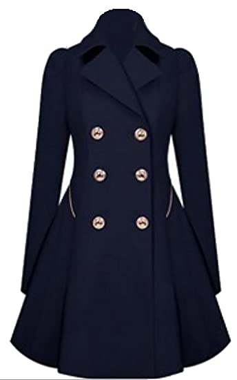 6032b1022d9 ouxiuli Women Business Classic Lapel Double-Breasted A-line Slim Fit Trench  Wool Pea