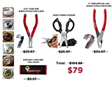 VamPLIERS Best Pliers Veterans Appreciation Month deal 4 pc set Bundle, Specialty Screw Extraction Pliers, 6.25'', 7'' Slip Joint, Carbon Steel Super Combo Scissors, Made in Japan + Tool Pouch