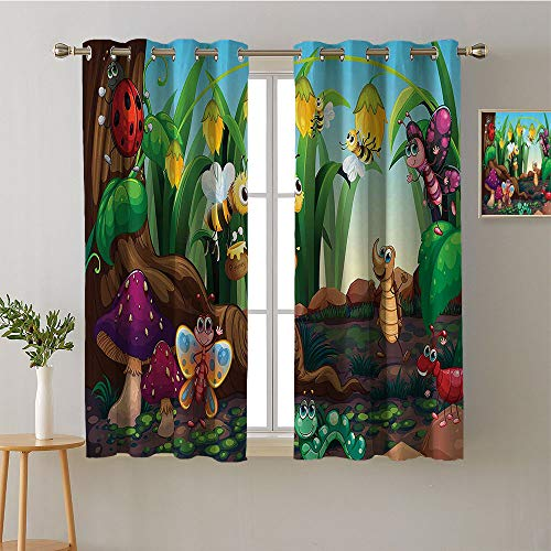 Suchashome Curtain Kids Grommets Decor Darkening Curtains Night Darkening Curtains Image Darkening Curtains Room/Bedroom(2 Pieces, 52