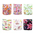 Alva Baby 6pcs Pack Fitted Pocket Cloth Diaper with 2 Inserts Each (Girl Color) 6DM04