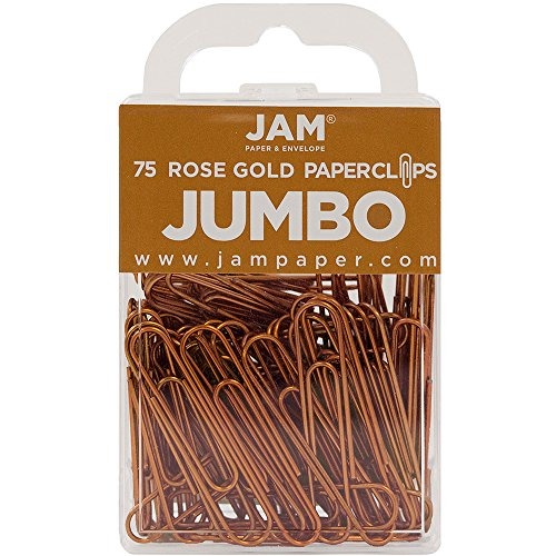 JAM Paper Colored Jumbo Paper Clips - Rose Gold Paperclips - 75/pack